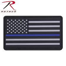 Uniform Flag Patch Rothco Pvc Thin Blue Line Flag Patch