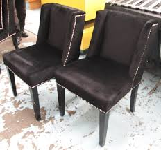 dining chairs a set of eight black velvet with studded detail