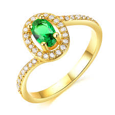 ring models for wedding 18k gold plated gemstone promise ring wedding band for women green