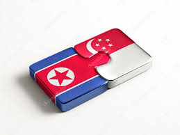 Singapore Flag Button Singapore North Korea Puzzle Concept U2013 Stock Editorial Photo