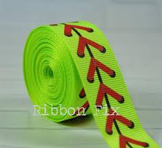 softball ribbon 2 yards 7 8 neon yellow softball laces print grosgrain ribbon