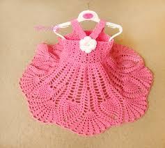 pink crochet baby dress handmade dress white flower