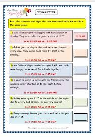 grade 3 maths worksheets 8 4 reading the time in am and pm