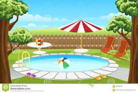 backyard pool with fence and parasol stock vector image 93780237