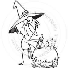 cartoon witch cauldron black and white line art by ron leishman