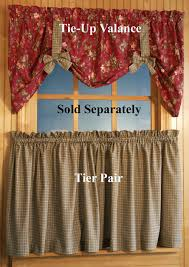 Tie Up Valance Curtains Climbing Roses Tier Curtains In Plaid