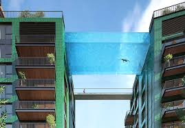london glass building floating glass swimming pool to be built between two london apartments