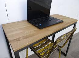 bureau style industriel sur mesure en chêne et acier