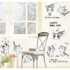 cute anime cats wall decal art decals vinyl stickers cute anime cats wall decal
