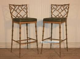 Bamboo Dining Room Chairs Pair Hollywood Regency Faux Bamboo Chippendale Metal Bar Stools