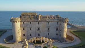 view from luxury hotel or restaurant terrace at aragonese castle