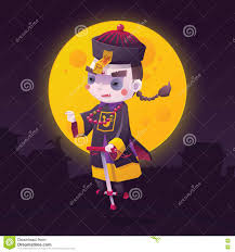 halloween messenger background chinese hopping vampire ghost for halloween stock vector image
