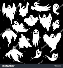 collection eerie flying halloween ghosts design stock vector