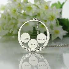 personalized kids jewelry circle family name necklace personalized couples pendant kids name