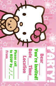 Hello Kitty Invitation Cards Hello Kitty Coloring Pages