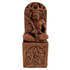 God Statue Seated Horned God Statue Wood Finish Eartisans Wiccan U0026 Pagan