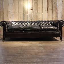 Used Leather Chesterfield Sofa by Vintage Black Leather Chesterfield Sofa For Sale At Pamono