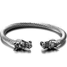 bracelet elastic silver images Elastic adjustable mens dragon bracelet steel twisted jpg
