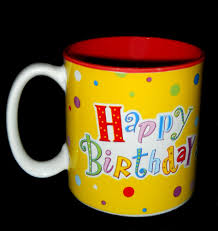 coffee mug happy birthday colorful design burton stoneware tea cup