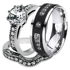 wedding bands sets his and hers st1w007 arti4317 his 3pc stainless steel vintage bridal ring
