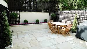 sandstone paving patio raised beds classic modern planting black
