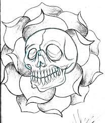 custom skull and flower sketch by deeperthanyou on deviantart