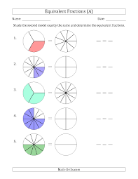 the equivalent fractions models a math worksheet from the