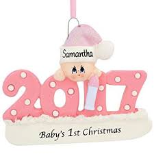 2017 baby s 1st ornament personalized pink