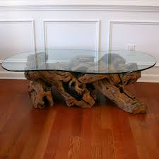 cool glass top coffee table driftwood 6768