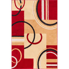 Modern Geometric Rugs by Sweet Home Stores Clifton Collection Modern Circles Design Red 7