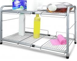 easy home expandable under sink shelf surpahs under sink 2 tier expandable cabinet organizer storage shelf