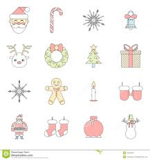 new year symbols christmas accessories icons stock vector image