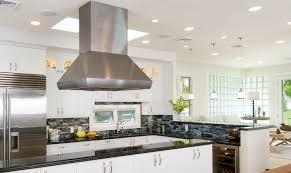 free standing range hood kitchen contemporary with glass mosaics