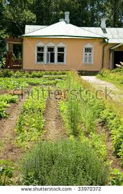 beautiful country house vegetable garden stock photo 33970369