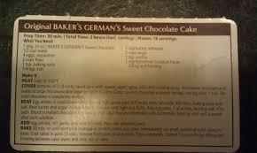 cake directions bakers german chocolate cake recipe cakes ideas