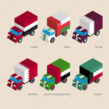 Flags Of Countries Set Of Isometric 3d Cargo Trucks With Flags Of Middle East