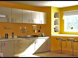 yellow kitchen wall design with cabinet and glass window 1950