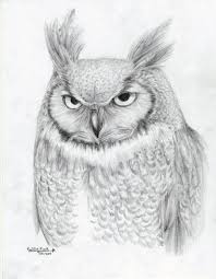 great horned owl by calliefink on deviantart drawings