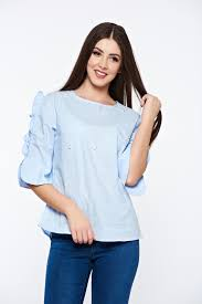 light blue top women s women s shirt cotton both shoulders cut out with pearls