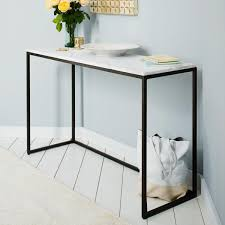 glass and metal console table box frame console marble west elm au