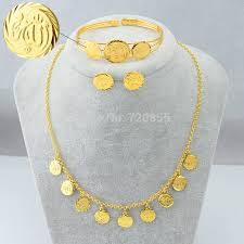 gold necklace bracelet earrings set images Find more jewelry sets information about new mohammad allah jpg