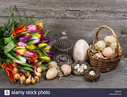 vintage easter baskets vintage easter decoration with eggs and tulip flowers nostalgic