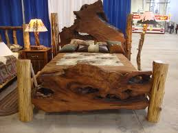 Decorate Bedroom Vintage Style Ravishing Log Full Size Bed Frame With Brown Mattress Also White