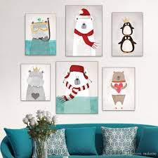 Free Combination Watercolor Nordic Animal Penguin Bear Panda - Canvas paintings for kids rooms