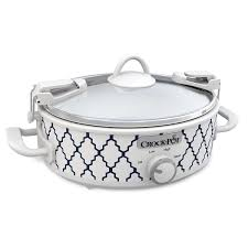 crock pot casserole crock 2 5 quart oval slow cooker white blue