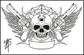 gangsta gun skull tattoo designs tattoos book 65 000 tattoos