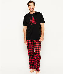 neuburger plaid fleece pajama set sleepwear rf0076n at