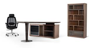 desk with shelves on side modrest lincoln modern office desk and side storage cabinet by vig