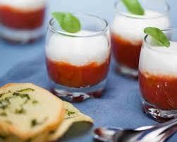 cuisine az verrines verrines de tomate au basilic crème fouettée à la mozzarella et