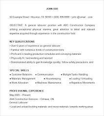 sample resume for landscaping laborer construction laborer resume